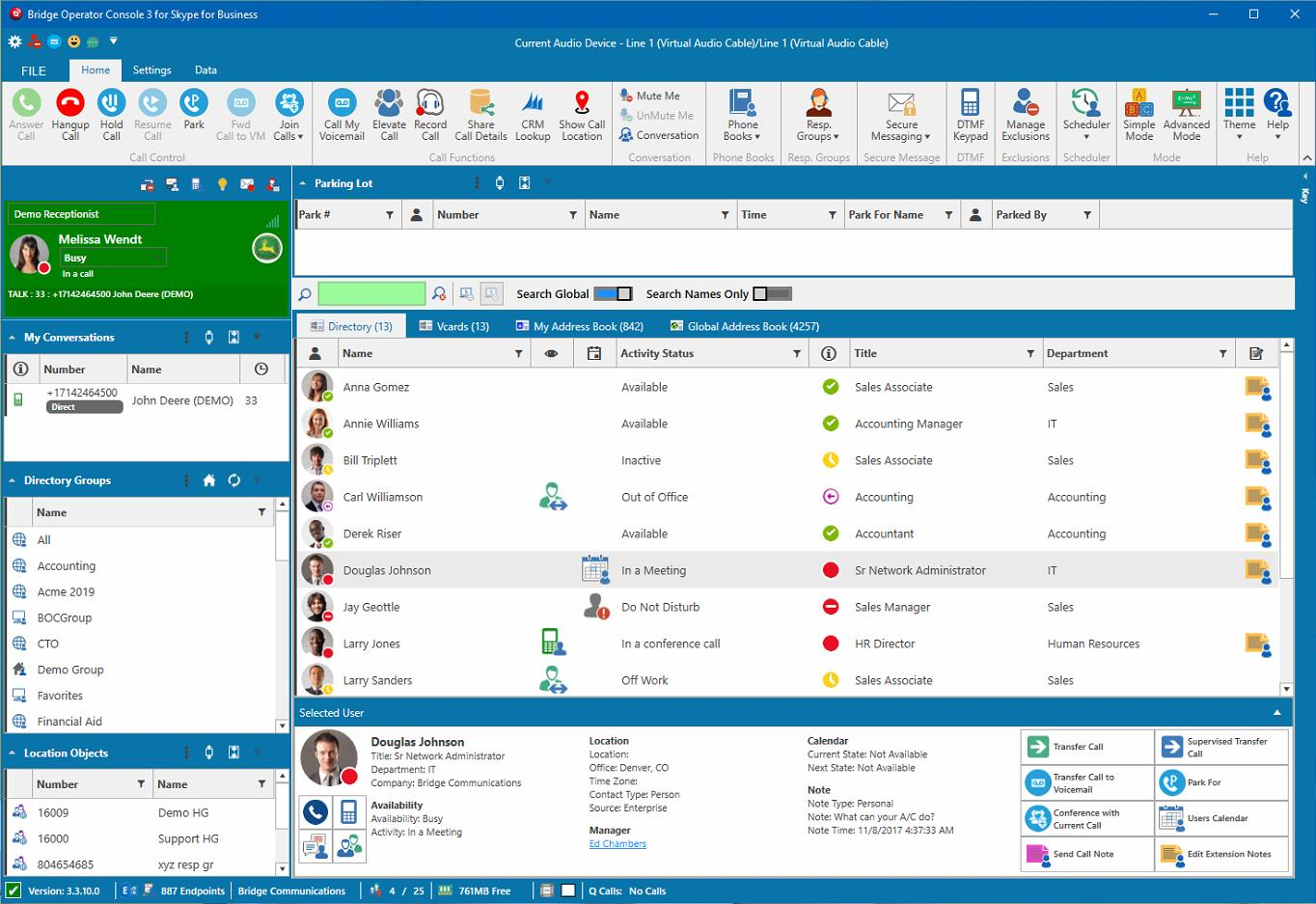 Skype for Business Attendant Console