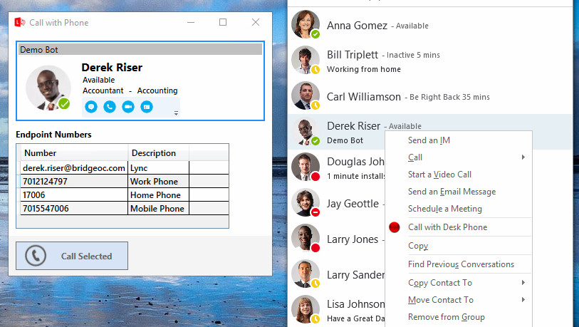 Cisco Click to Dial in Lync Skype for Business