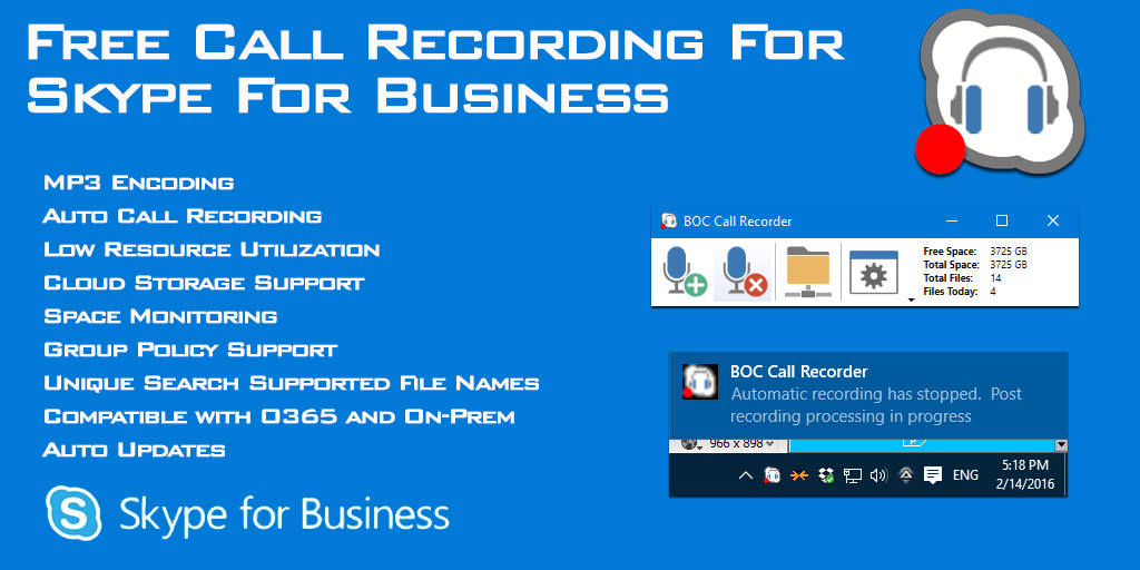 Bridge Call Recorder for Skype For Business
