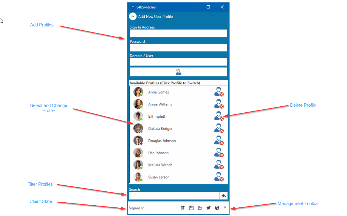 Quickly and easily change Skype for Business profiles
